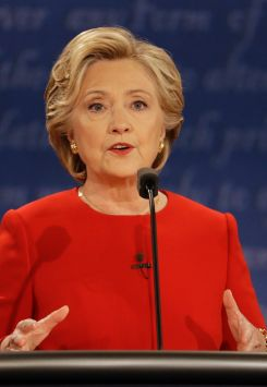 Hillary Clinton during the presidential debate with  Donald Trump at Hofstra University in Hempstead, New York. Sept. ...