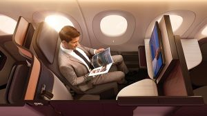 Qatar Airways' new business class seat, the 'QSuite'.
