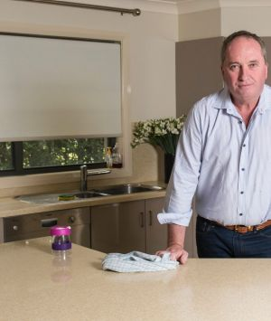 Deputy Prime Minister Barnaby Joyce in the kitchen of the Armidale townhouse he is living in with Vikki Campion.