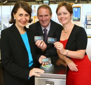 Transport Minister Gladys Berejikilian, Bart Bassett & Tanya Davies promoting the Opal Card as the phasing out of paper ...