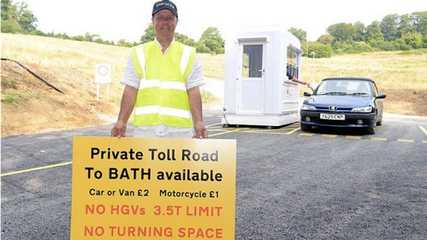 Mike Watts on his newly-built toll road in England.