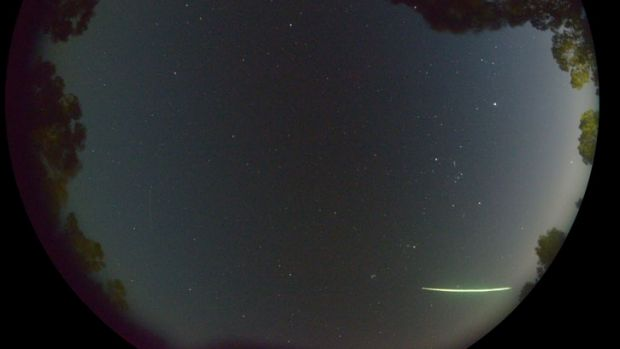 The 'fireball' seen across the Perth sky about 6am on Monday. Taken with a fish-eye lens.
