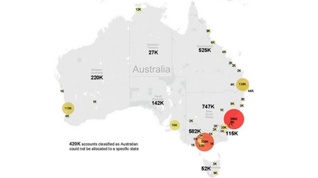 A map reveals Twitter use in Australia.