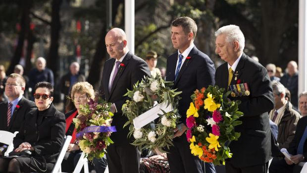 Opposition Leader, John Roberston (L), NSW Premier, Mike Baird (Centre), and state vice president of the Returned and ...