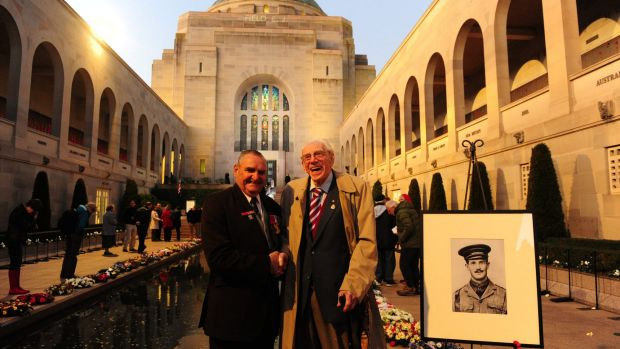 Keith Payne, right, with former ACT RSL president, and World War Two veteran, Ron Metcalfe, of Hughes, at the Australian ...