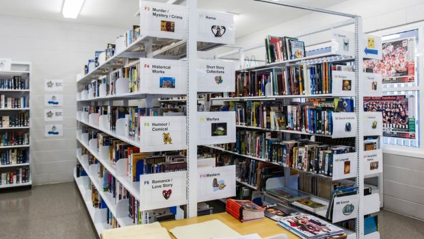 The Hume library's collection at the Alexander Maconochie Centre contains about 5000 items.