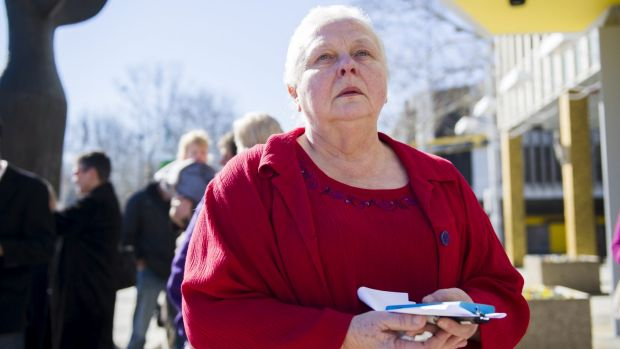 Marlene Kasurinen outside the Legislative Assembly on Tuesday.