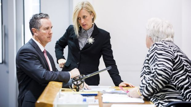 ACT Opposition leader, Jeremy Hanson, and Chief Minister, Katy Gallagher, with speaker Vicki Dunne in the Legislative ...