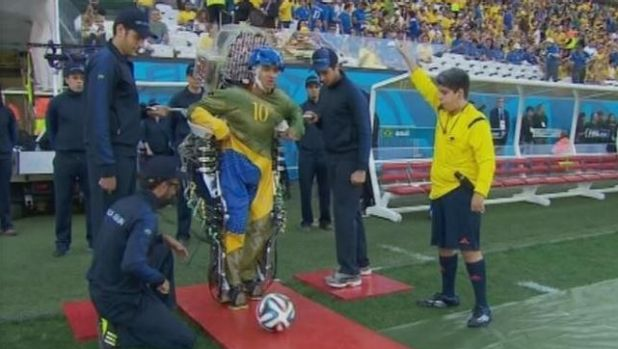Juliano Pinto, a 29-year-old paraplegic kicked off the 2014 World Cup by using his mind to control the movement of his ...