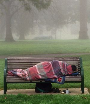 An Australian sleeping rough.