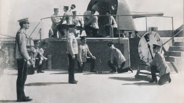 The first shot is sent across the bows of the German steamer Pfalz in 1914.