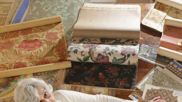 Paper treasure: Phyllis Murphy with a sampling of her wallpaper collection.