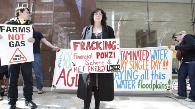 AGL made donations while seeking drilling approval: Protesters at AGL headquarters in Sydney last week.