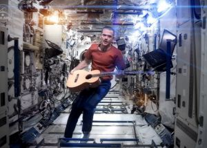 "Chris Hadfield performing his zero-gravity version of David Bowie's hit ""Space Oddity""."