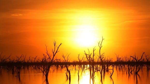 Time running out for water reform?: The sun sets over the Barren Box Storage and Wetland, near Griffith in NSW.