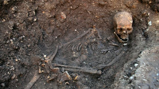 The skeleton of Richard III at the Grey Friars excavation site in Leicester.