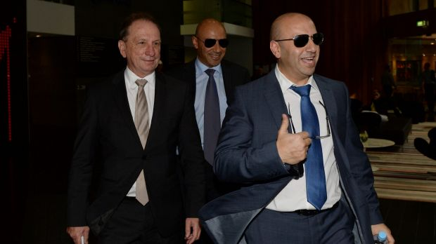 Moses Obeid and and Paul Obeid, right, leave the ICAC in April 2014.