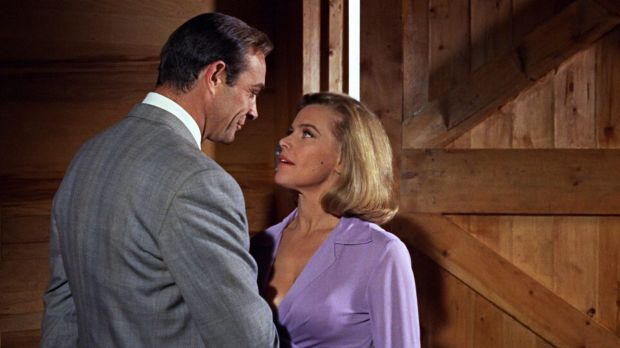 Sean Connery as James Bond and Honor Blackman as Pussy Galore in Goldfinger, 1964.