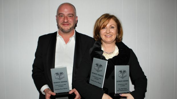 Outstanding reporting ... Fairfax Media's Adele Ferguson, right, took out NSW Journalist of the Year at the Kennedy ...