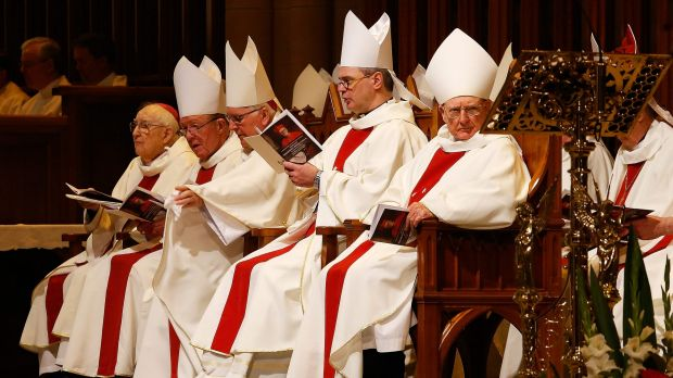 Priests at Saturday's Mass.