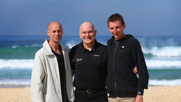 Don't forget to look back: Steve Moneghetti, Robert de Castella and Michael Shelley at Bondi Beach before Sunday's 2014 ...
