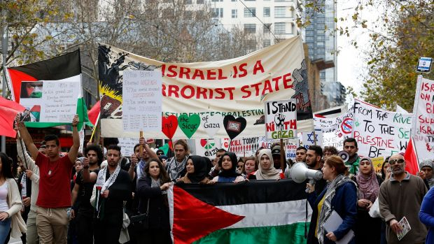 The Free Gaza Rally saw protestors march from the State Library of Victoria to the Department of Foreign Affairs and Trade.