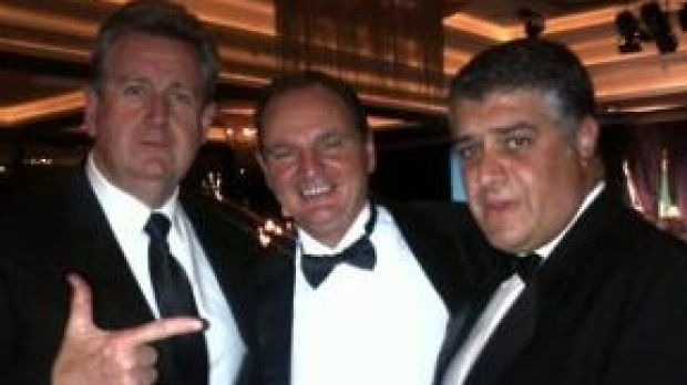Paul Pisasale (centre) in the now-famous photo with then-NSW premier Barry O'Farrell and Nick di Girolamo.