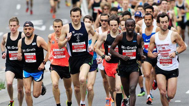 Head of the pack: Craig Mottram leads the City2Surf.