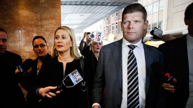 Andrew Cornwell arrives at ICAC with his wife.