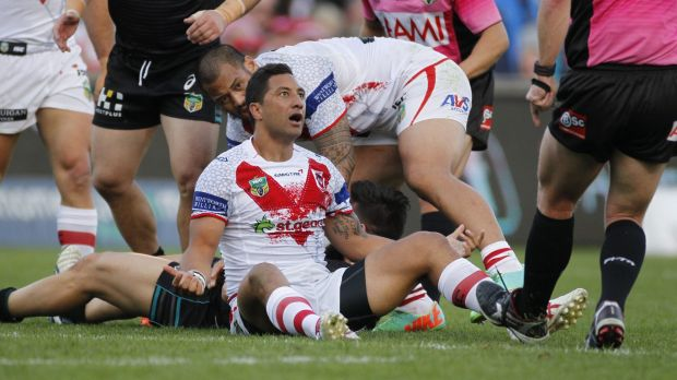 Bemused: Benji Marshall is not happy with the referees during the Dragons' loss to Penrith in Wollongong.