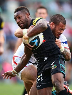 Hard to handle: Penrith hooker James Segeyaro.