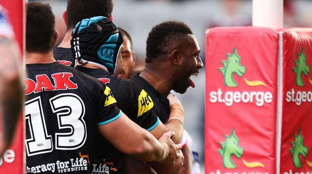 Happy Panther: James Segeyaro after scoring in Wollongong.
