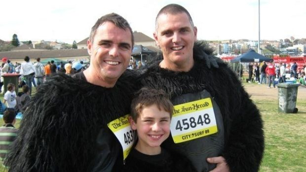 Extra distance: Rob Stanley-Jones with son Jack and brother Paul at a previous City2Surf.