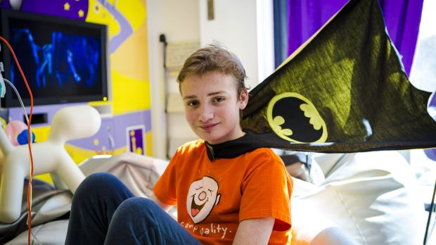 Daniel Jamieson, 13, wearing his cape at Canberra Children's Hospital.