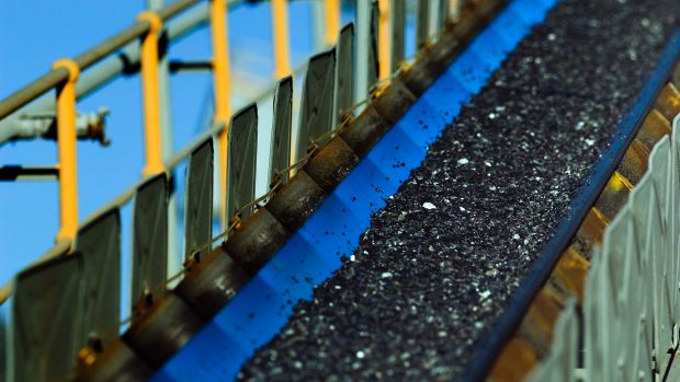 Mined nickel matte on a conveyor belt at BHP's Nickel West Leinster mine near Kalgoorlie. The mine is one of the assets ...