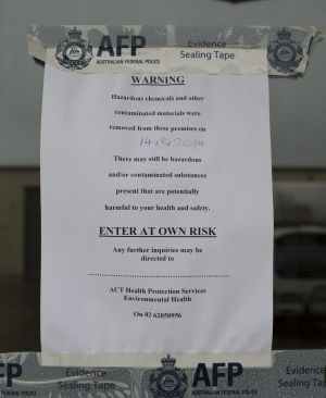An AFP notice posted at the scene of the Hume drug raid.