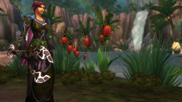 A female caster in Sholazar Basin in Blizzard's game World of Warcraft