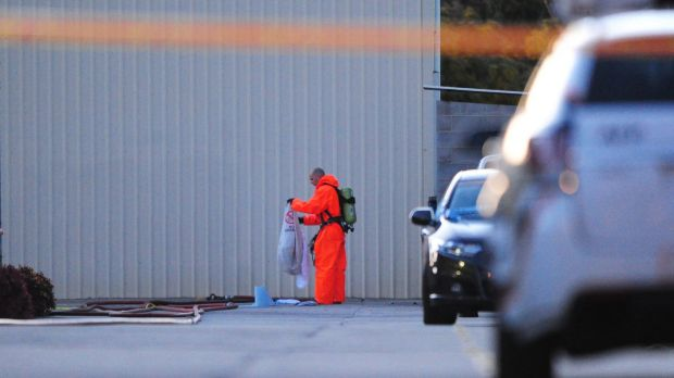 Police investigate the alleged drug lab in Hume In August.