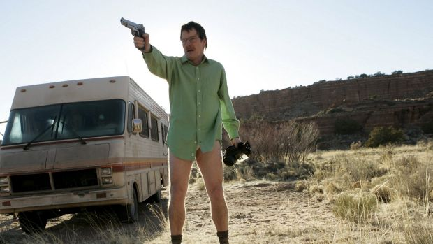 Walter White, played by Bryan Cranston, in front of The Crystal Ship, in a scene from Breaking Bad.
