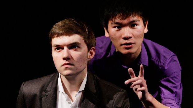 Drama students Daniel Full (L) and Adrian Sit started HSC drama exams this week.