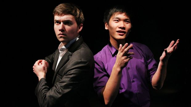Daniel Full (left) and Adrian Sit perform a scene from their HSC drama piece.
