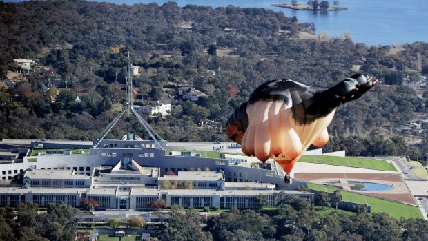 The Skywhale flying over Canberra during the centenary. It has since floated on to favourable skies in Brazil and Ireland.