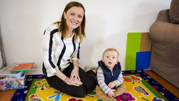 Kate Lynch with her eight-month-old son Jack.