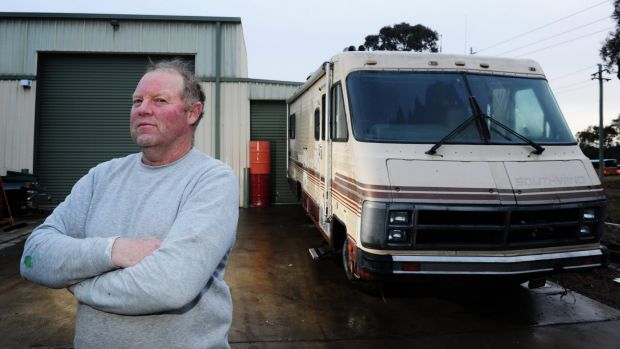 Chris Convine of O'Connor with his '84 Southwind that was parked near to where the drug lab in Hume was found.