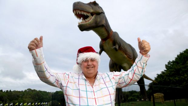 In happier times: Clive Palmer with Jeff the dinosaur.