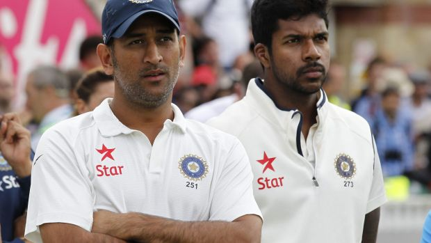 Out: India's captain and wicketkeeper Mahendra Singh Dhoni.