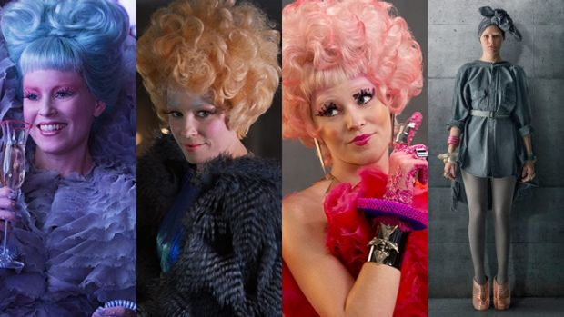 Before and after ... colourful character Effie gets a drab makeover as she joins District 13 in <i>Mockingjay</i> movie.