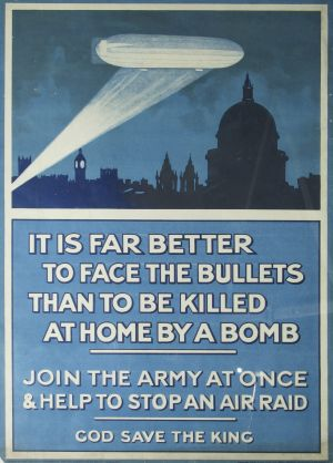 Wartime warning: A WWI recruiting poster featuring a Zeppelin attack.
