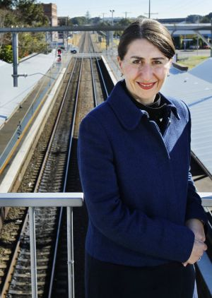 Back to the drawing board: Gladys Berejiklian, Minister for Transport, at Wickham train station.