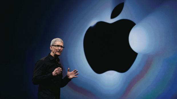 Apple boss Tim Cook introduces the iPhone 5 in 2012.